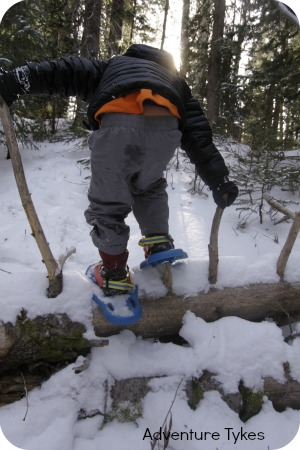 Toddler snowshoeing with Tubbs Snowflake snowshoes