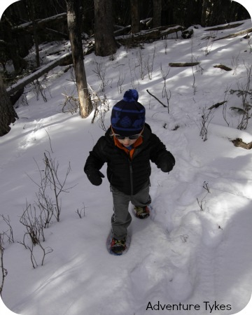 Toddler snowshoeing in Tubbs Snowflake snowshoes