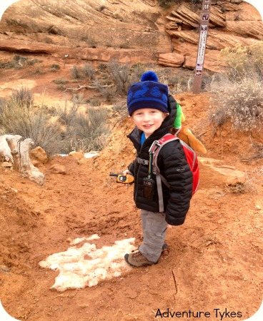 Tyke hiking in Cedar Mesa