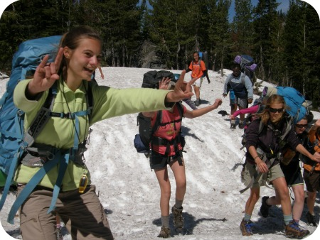 Girls backpacking