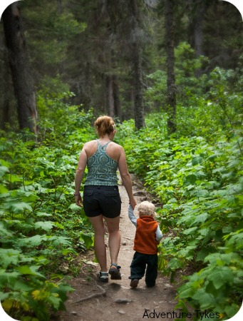 Mom and toddler hiking