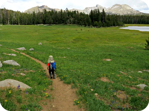 Toddler hiking in the Wind River Range of Wyoming