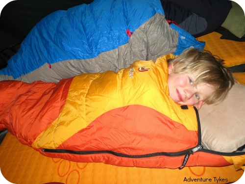 Toddler in his sleeping bag