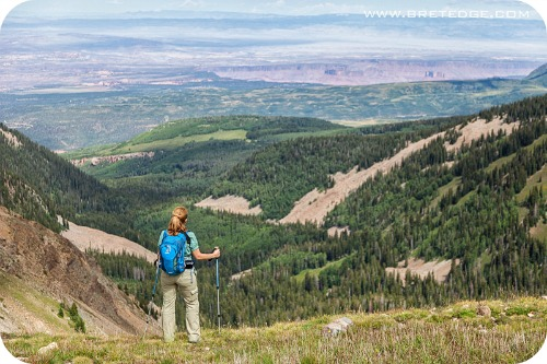 Hiker Enjoying View of Castle Valley from La Sal Mountains-Edit