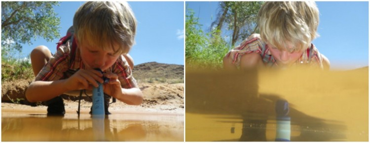 Kid using a LifeStraw