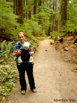Mom and infant hiking in Oregon