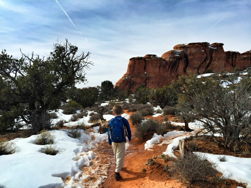 Broken Arch Trail in winter,  Arches National Park, utah